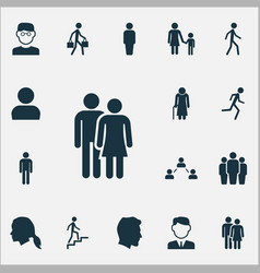 People icons set collection of old woman male vector