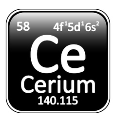 Periodic table element cerium icon vector