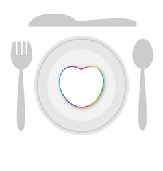 Plate dish with heart vector