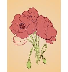 Poppy Flowers Sketch2 vector image vector image