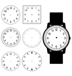 set of blank hand watch face and blank wall clock vector image vector image