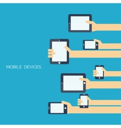 Tablet and smartphone in human handsGlobal vector image