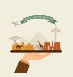 Welcome to africa attractions of africa on a tray vector