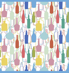 wine bottles pattern vector image