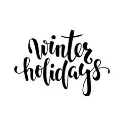 winter holidays hand drawn creative calligraphy vector image vector image