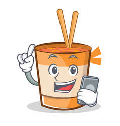 With phone cup noodles character cartoon vector