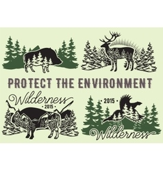 Set of emblems with wild animals forest vector