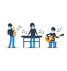 Music band playing live concert saxophone keyboard vector