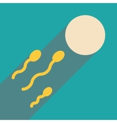 Flat web icon with long shadow egg sperm vector