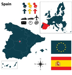 Spanish and European Union map vector image