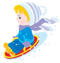 Child on an ice-boat vector