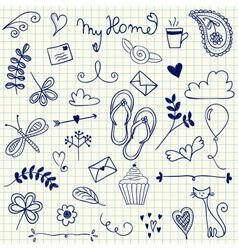 My home pen doodles on squared paper vector
