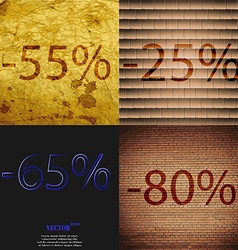 25 65 80 icon set of percent discount on abstract vector