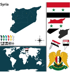 Syria map world vector