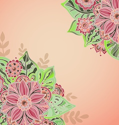 Template with flowers and leaves for greeting card vector