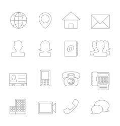 Contact icons line vector