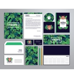 Corporate identity templates in tropical style vector
