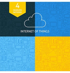 Thin Line Art Internet of Things Pattern Set vector image
