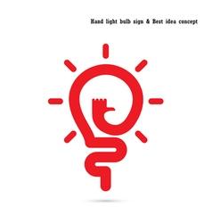 Human hand logo and light bulb logo design vector