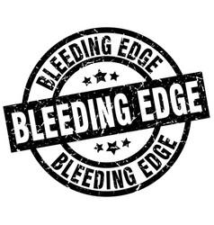 bleeding edge round grunge black stamp vector image vector image