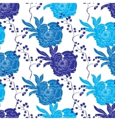 Blue Oriental Kimono Peony Seamless Pattern vector image vector image