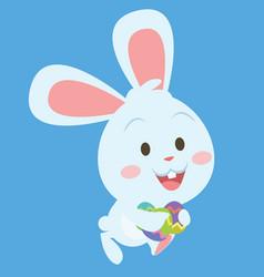 bunny running character art vector image vector image