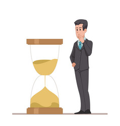 businessman or manager looks at the hourglass vector image