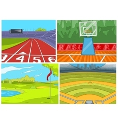 Cartoon set of sport infrastructure backgrounds vector