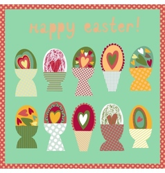 Colorful card with Easter egg cups vector image