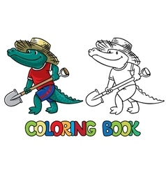 Crocodile-farmer coloring book vector