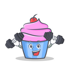 Fitness cupcake character cartoon style vector