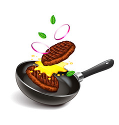 Frying steaks on pan isolated vector