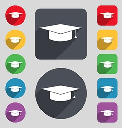Graduation cap icon sign A set of 12 colored vector image