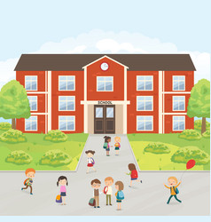 group of elementary school kids in the school yard vector image