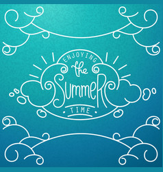 Hand drawn lineart composition and lettering vector