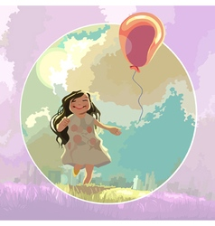 happy cartoon girl running after a balloon vector image vector image
