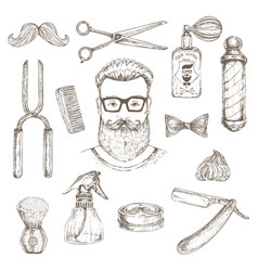 hipster and barber elements set vector image vector image