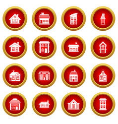 House icon red circle set vector