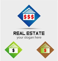 House logos with money dollar sign vector