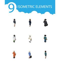 Isometric human set of seaman hostess cleaner vector