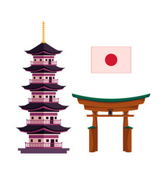 japanese national flag pagoda and torii gate vector image