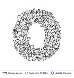 letter o symbol of white leaves vector image