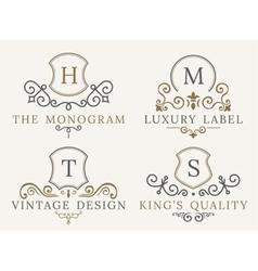 Luxury logo set calligraphic pattern elegant vector