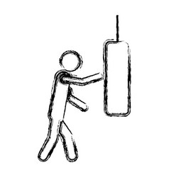 Monochrome sketch of man knocking punching bag vector