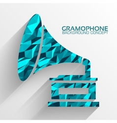 Polygonal retro gramophone background concept vector