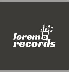 records music recordign studio logo label vector image vector image