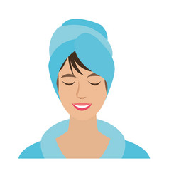 Relaxed woman wrapped in towel spa center icon vector