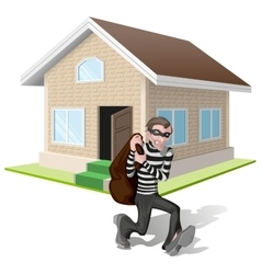 Robber in mask carries bag thief robs house vector