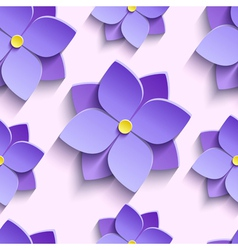 Seamless pattern with purple summer flowers vector