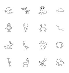 Set of 16 editable animal doodles includes vector